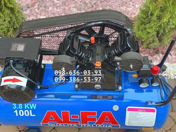 Воздушный компрессор Al-Fa 100л повітряний компресор 660л/мин 3.8кВт