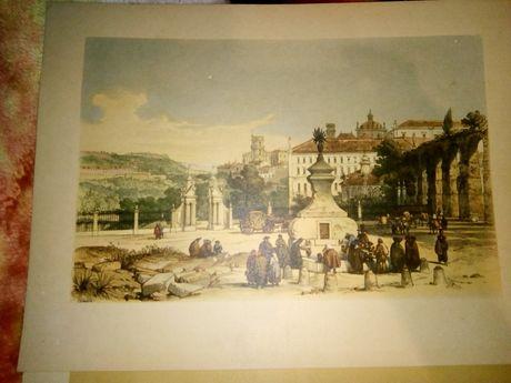 Impressões antigas da cidade de Coimbra e ilha da Madeira