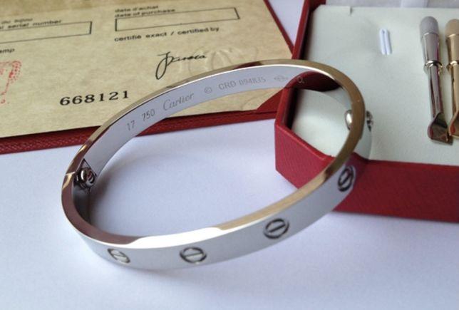 Bransoleta Cartier białe złoto