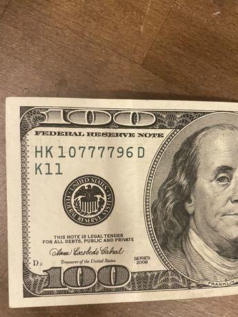 100 долларов с уникальным номером 7777