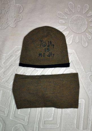 Комплект шапка и хомут Elf Kids на мальчика, коттон
