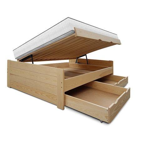 wysokie łóżko sosnowe z pojemnikiem i szufladami ALTO 120x200