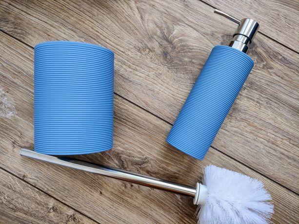 Nowy zestaw łazienkowy dozownik szczotka WC pastel niebieski blue