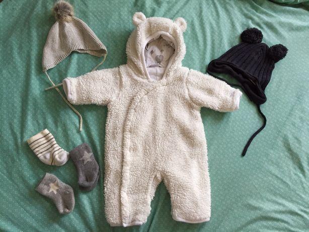 Zestaw kombinezon noworodek 50cm jesień zima czapki nowe h&m okazja