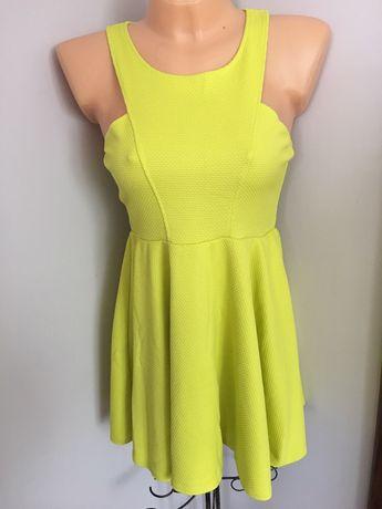 Nowa limonkowa sukienka kloszowana