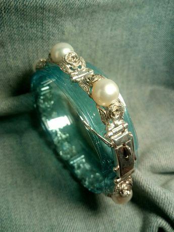 Браслет Жемчуг с кольцом,серебро,Авторская работа