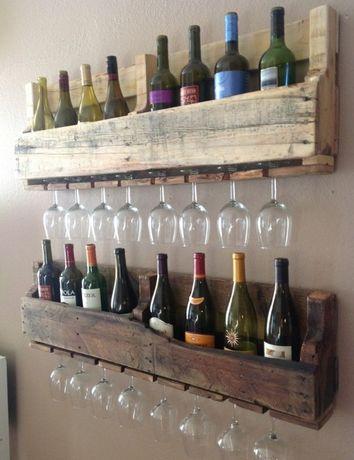 Półka na wino industrial loft wisząca vintage, shabby alkohol ścienna