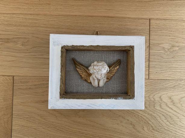 Obraz obrazek z aniolkiem 3D drewniany drewno kamionka pokoj dziecka