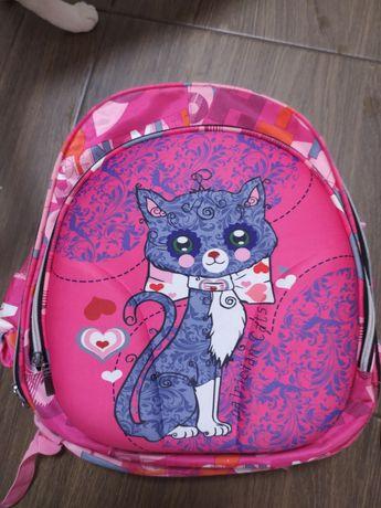 Рюкзак школьный кот малиновый