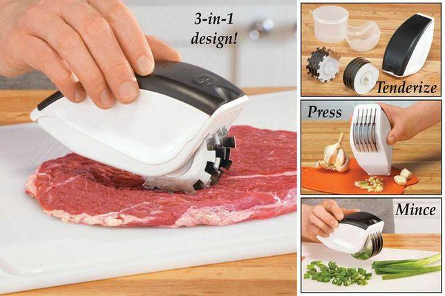 Нож для нарезки 3 в 1 Rolling Mincer с чесночным прессом ТОП!