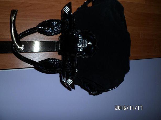 Torebka damska czarna z dużymi cyrkoniami