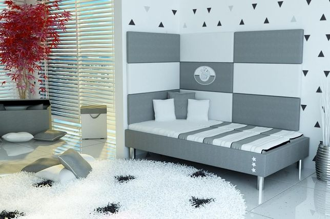 Łóżko dziecięce , łóżko tapicerowane, materac, panele tapicerowane