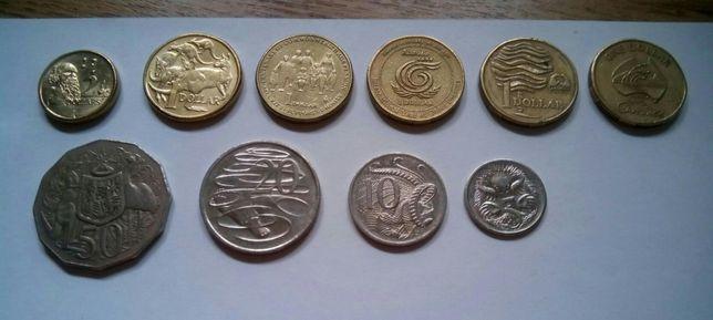 Австралийские доллары. Набор монет 10 штук