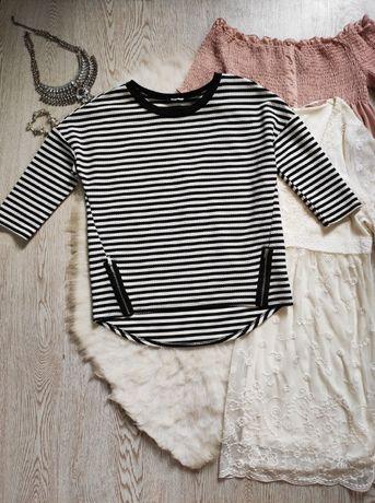 белый черный в полоску реглан кофта джемпер стрейч короткий оверсайз ж