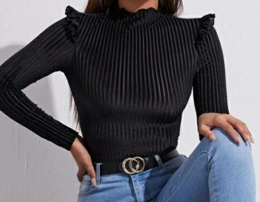 Elegancka bluzka s/xs prążki z falbankami Kielce - image 1