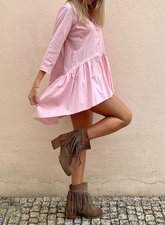 Vestido camiseiro rosa soft