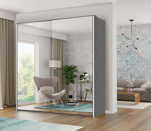 Nowoczesna pojemna szafa BRUNO z lustrami + LED 207 x 216 x 60 cm