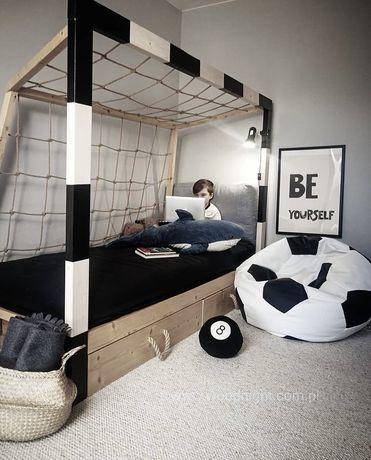 Łóżko dla chłopca, bramka piłkarska, samochód, łóżko domek