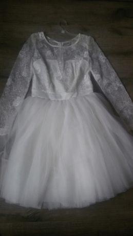 Suknia ślubna krótka koronka+tiul, rozm.36