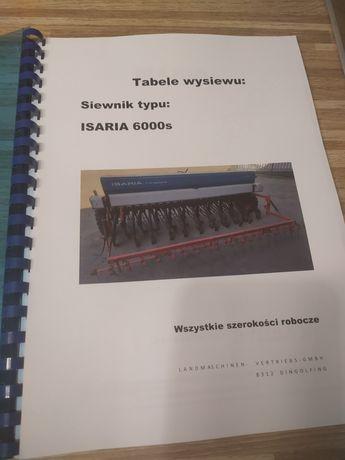 Tabele wysiewu ISARIA 6000S po polsku