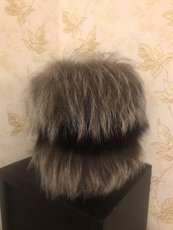 Зимняя шапка женская чернобурка
