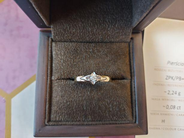 Nowy W.kruk pierścionek z diamentem brylant 585 zaręczynowy diament