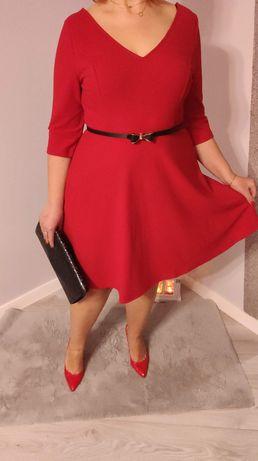 Sukienka czerwona świąteczna 3XL 4XL NOWA