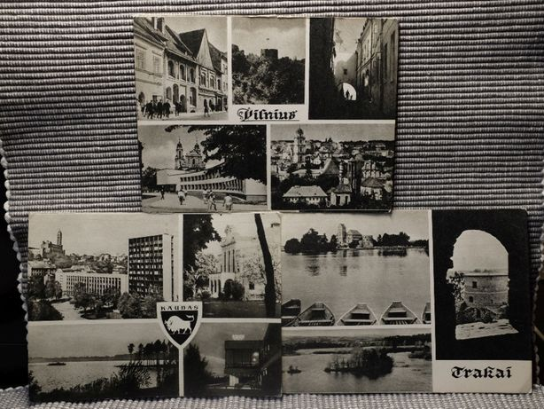 Ч/б открытки с видами Вильнюса, Каунаса и Тракая