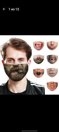 маска многоразовая с принтом