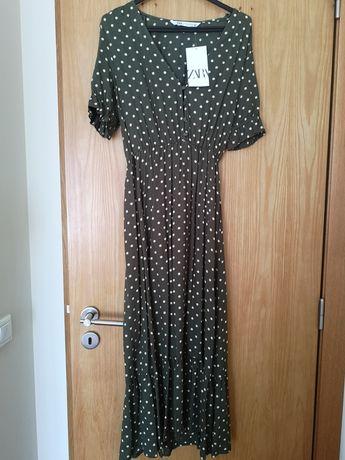 Vestido midi bolinhas Zara