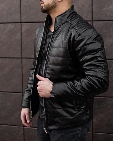 Куртка шкіряна чоловіча весняна осіння Gang чорна   Кожанка демісезонн