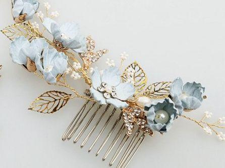 Ozdoba włosów grzebień ślub Elegancki Niebieski Kwiat Perła