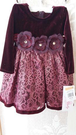 Сукня,Плаття від Bonnie Baby на 12м.Верх велюр колір бордо.350грн.