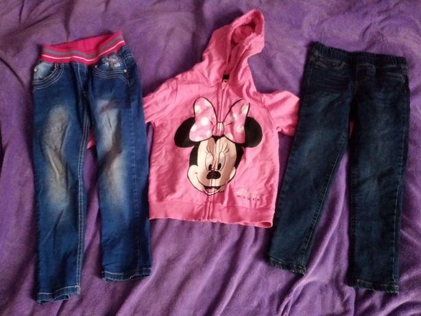 Jeansy  dziewczynki bluza mini 122