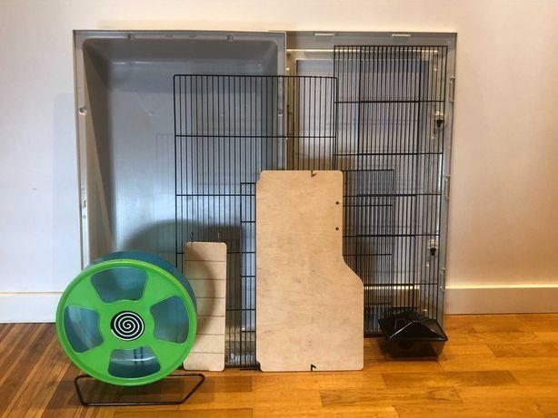 Gaiola 77cm e roda 28cm para hamster sírio e outros roedores