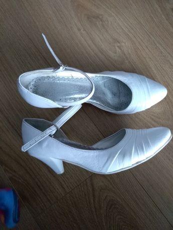 Buty ślubne białe 36 SKÓRA skórkowe