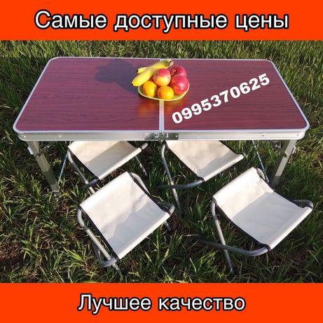 Походный Стол с набором из 4-х стульев Prostore, раскладной 120*60 см