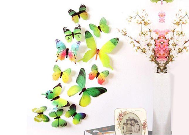 Borboletas 3D para decoração, amarelas e verdes para parede 12pcs HQ