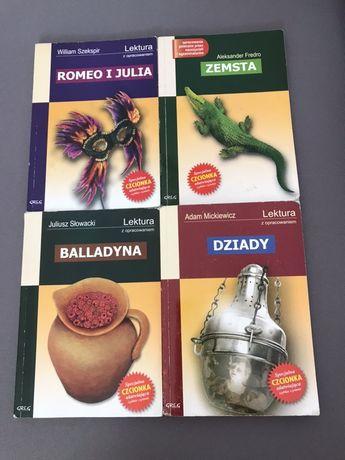 Lektury szkolne (Romeo i Julia, Zemsta, Balladyna, Dziady)