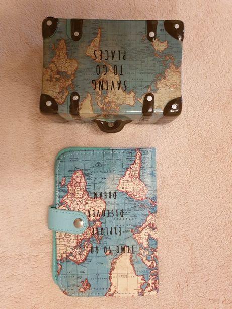Mealheiro + bolsa passaporte -Tema viagens