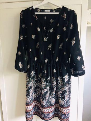 Sukienka ONLY r 38 M czarna w kwiatki Boho hippie