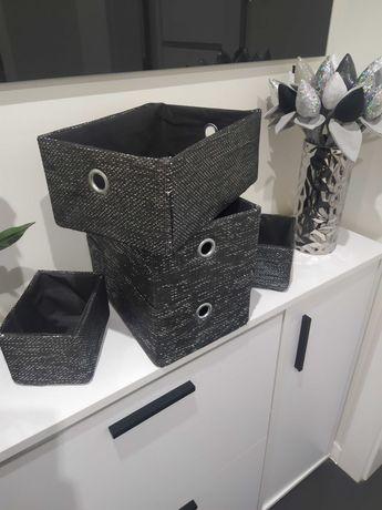 Nowe pudełka ozdobne materiałowe czarno srebrne Glamour
