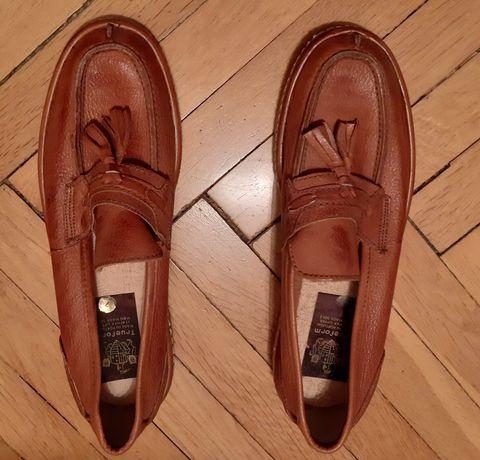 Buty męskie brązowe portugalskie skórzane