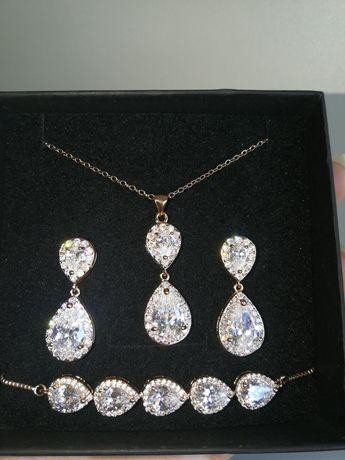 Nowy komplet biżuterii ślubnej z cyrkoniami różowe złoto Rose Gold