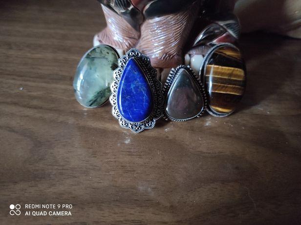 Кольца серебро бохо этно натуральные камни