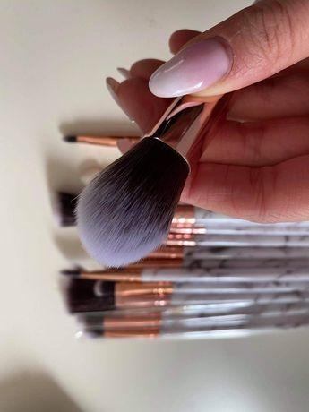 Pędzle zestaw pędzli do makijażu make-upu różowe beżowe