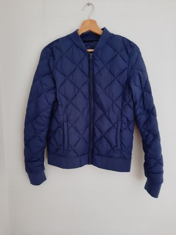 Granatowa pikowana kurtka damska bez kaptura 36 S