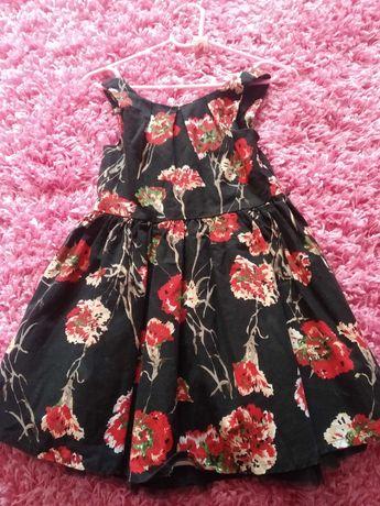 Sukienka kwiaty elegancka 3-4 latka
