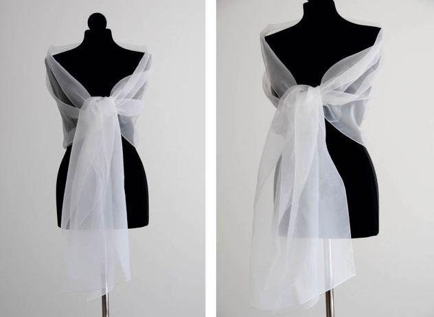 Szal ślubny z organdyny do sukienki ślubnej biały ivory na ślub wesele