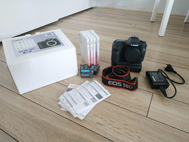 Canon 50d + grip // zestaw, body, lustrzanka, aparat, kartony
